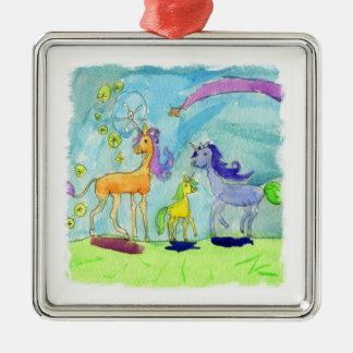 Ornement Carré Argenté Peinture d'aquarelle avec la famille de poney de