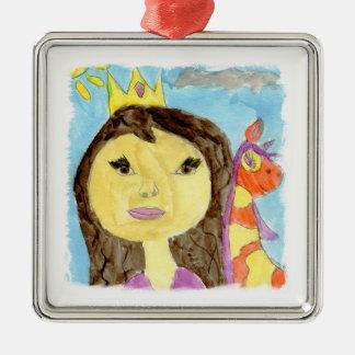 Ornement Carré Argenté Peinture d'aquarelle avec la princesse et la