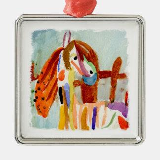 Ornement Carré Argenté Peinture d'aquarelle avec le cheval multicolore
