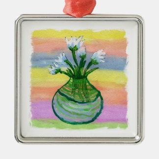 Ornement Carré Argenté Peinture d'aquarelle avec le pot de fleurs