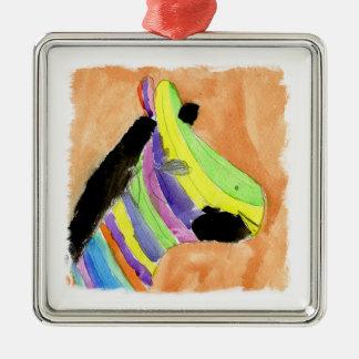 Ornement Carré Argenté Peinture d'aquarelle avec le zèbre d'arc-en-ciel