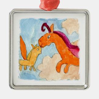 Ornement Carré Argenté Peinture d'aquarelle avec Pegasus et le sien