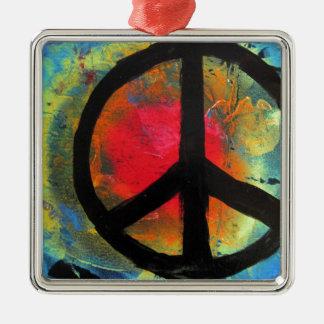 Ornement Carré Argenté Peinture de signe de paix d'arc-en-ciel d'art de