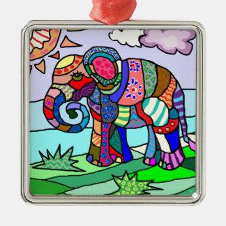 Ornement Carré Argenté Peinture folcloristic abstraite colorée d'éléphant