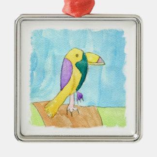 Ornement Carré Argenté Peinture multicolore de perroquet d'aquarelle