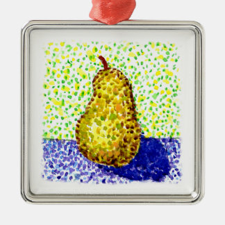 Ornement Carré Argenté Peinture pointillée d'aquarelle avec la poire