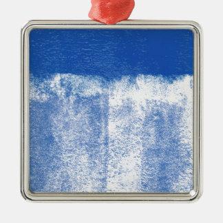 Ornement Carré Argenté Peinture roulée par bleu