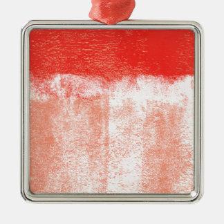 Ornement Carré Argenté Peinture roulée par rouge
