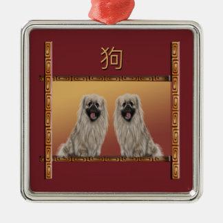 Ornement Carré Argenté Pekingese année chinoise de conception asiatique