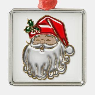 Ornement Carré Argenté Père Noël