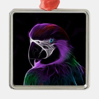 Ornement Carré Argenté perroquet #2
