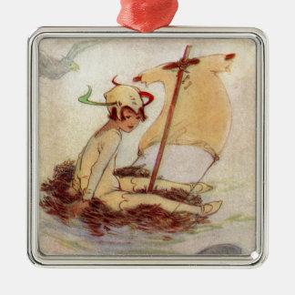 Ornement Carré Argenté Peter Pan sur le radeau de nid