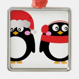 Ornement Carré Argenté Petit rouge peint à la main de noir de pingouins