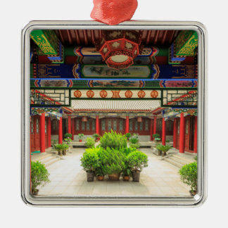 Ornement Carré Argenté Petit temple sauvage d'oie, Chine