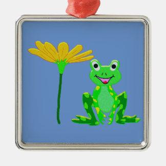 Ornement Carré Argenté petite grenouille et fleur jaune