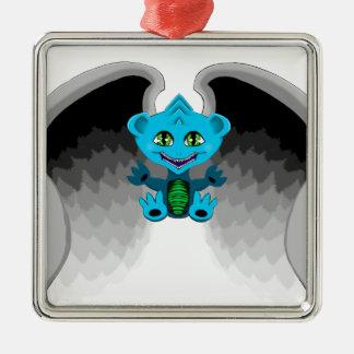 Ornement Carré Argenté Peu de dragon avec des ailes