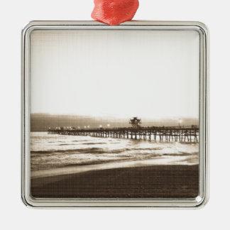 Ornement Carré Argenté Photo de cru de plage de la Californie de pilier
