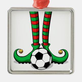 Ornement Carré Argenté Pieds d'Elf de Noël du football