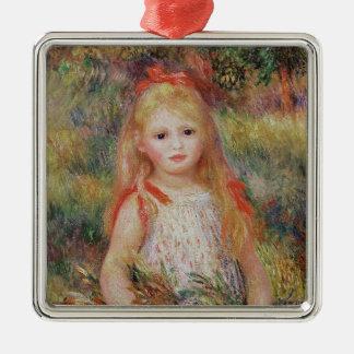 Ornement Carré Argenté Pierre fleurs de transport fille de Renoir | d'une