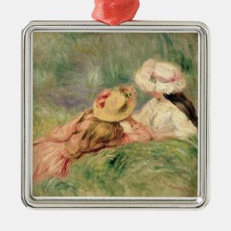 Ornement Carré Argenté Pierre jeunes filles de Renoir un | sur la berge