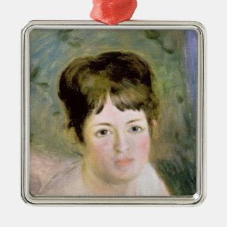 Ornement Carré Argenté Pierre la tête d'une femme de Renoir |