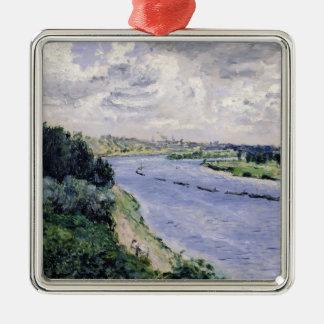 Ornement Carré Argenté Pierre péniches de Renoir un | sur la Seine