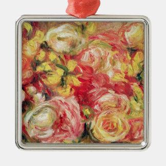 Ornement Carré Argenté Pierre roses de Renoir un |