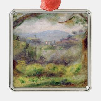 Ornement Carré Argenté Pierre un paysage de Renoir | chez Les Collettes