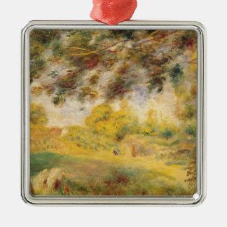 Ornement Carré Argenté Pierre un paysage de ressort de Renoir |