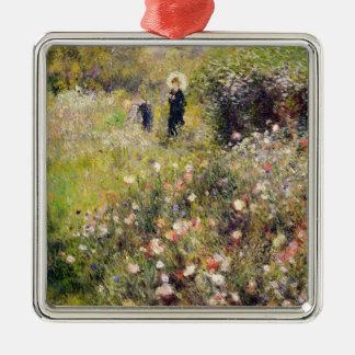 Ornement Carré Argenté Pierre un paysage d'été de Renoir |