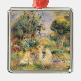 Ornement Carré Argenté Pierre un Renoir | les baigneurs