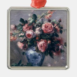 Ornement Carré Argenté Pierre un vase à Renoir | de roses