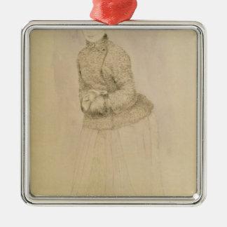Ornement Carré Argenté Pierre une femme de Renoir | avec un manchon