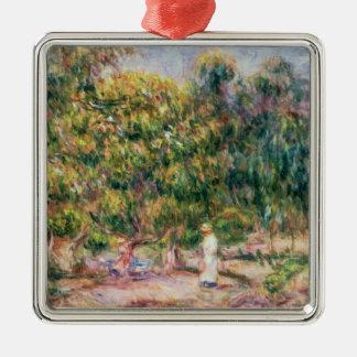 Ornement Carré Argenté Pierre une femme de Renoir | dans le jardin de Les