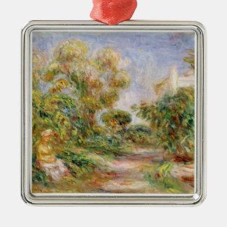 Ornement Carré Argenté Pierre une femme de Renoir | dans un paysage