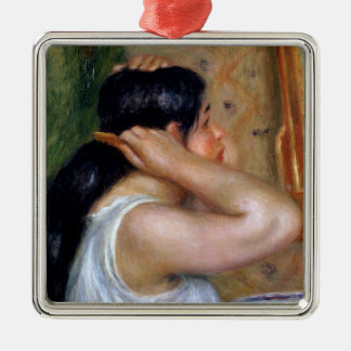 Ornement Carré Argenté Pierre une fille de Renoir   se peignant les