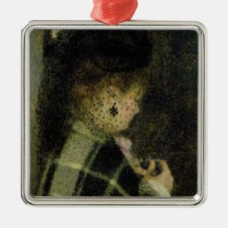 Ornement Carré Argenté Pierre une jeune femme de Renoir | avec un petit