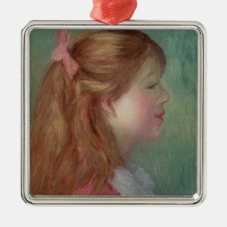 Ornement Carré Argenté Pierre une jeune fille de Renoir | avec de longs