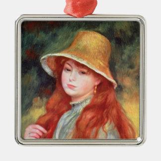 Ornement Carré Argenté Pierre une jeune fille de Renoir | dans un chapeau