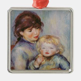 Ornement Carré Argenté Pierre une maternité de Renoir |, enfant avec un