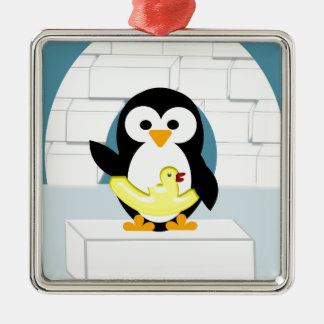 Ornement Carré Argenté Pingouin