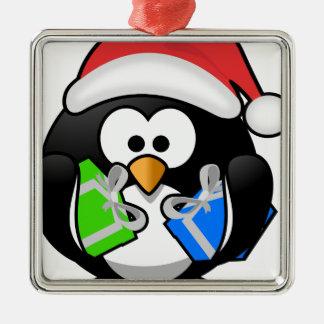 Ornement Carré Argenté Pingouin avec des cadeaux