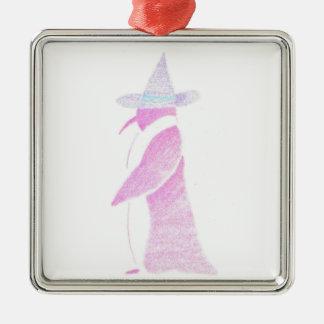 Ornement Carré Argenté Pingouin dans le casquette d'une sorcière