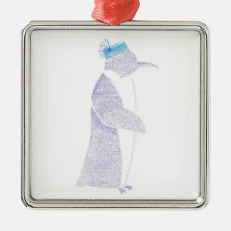 Ornement Carré Argenté Pingouin dans un casquette de fantaisie