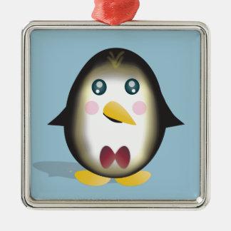 Ornement Carré Argenté Pingouin de Chillin