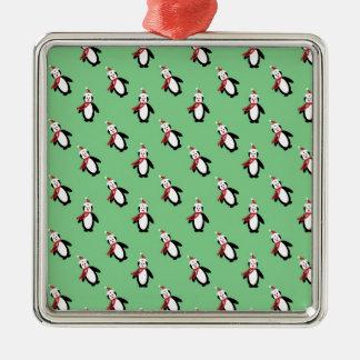 Ornement Carré Argenté Pingouin de Noël