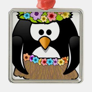 Ornement Carré Argenté Pingouin hawaïen avec les fleurs et la jupe