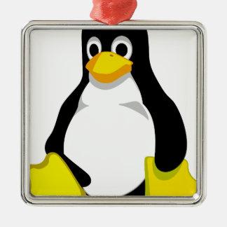 Ornement Carré Argenté Pingouin Linux Tux