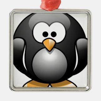 Ornement Carré Argenté Pingouin / Penguin