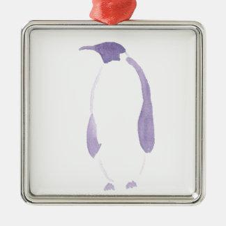 Ornement Carré Argenté Pingouin pourpre